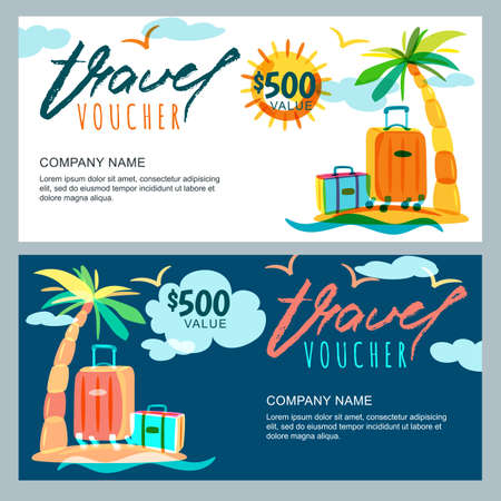 Vector gift travel voucher template. Tropical island landscape with palm tree and luggage suitcase. Concept for summer vacation and travel agency. Banner, shop coupon, certificate or flyer layout. Çizim