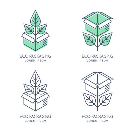 Vector eco packaging logo, icon or emblem design template. Linear style box with green growing plant and leaves. Natural, organic, ecological and eco-friendly concept. Recycling of products package.
