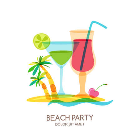 party drinks: Tropical island landscape with cocktail glass and palm tree. Vector doodle isolated illustration. Trendy flat design for summer beach party, bar menu of alcohol drinks or wine list. Illustration