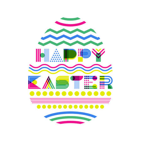 Happy Easter vector greeting card, banner or poster design template. Geometric lettering and colorful Easter egg on white background. Modern concept for holiday. Illustration
