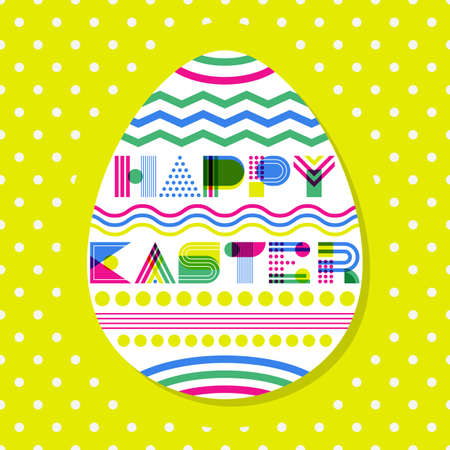 multiplicar: Happy Easter vector greeting card, banner or poster design template. Geometric lettering and colorful Easter egg on yellow polka dot background. Modern flat concept for holiday. Vectores