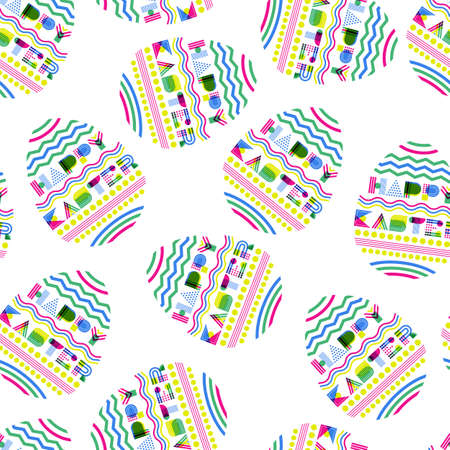 Happy Easter vector seamless pattern. Geometric letters in egg shape. Colorful Easter egg on white background. Modern background design for holiday.