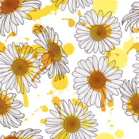 Vector seamless pattern with beautiful chamomile flower and watercolor stains. Hand drawn sketch floral illustration. Spring design for fabric, textile print, wrapping paper or web backgrounds.