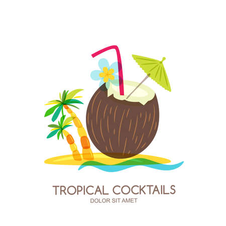 Tropical island landscape with coconut cocktail and palm tree. Vector doodle isolated.