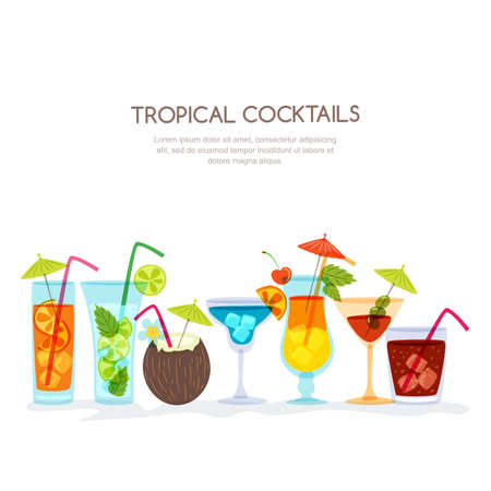 Tropical cocktails set, vector hand drawn illustration.