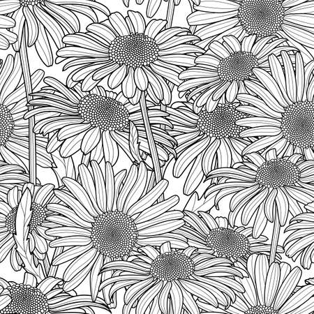 Vector floral seamless pattern. Monochrome background with hand drawn outline.