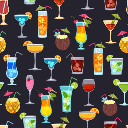 drinks party: Vector seamless black pattern with tropical cocktails, juice, wine and champagne glass. Doodle background with beverages. Design for summer beach party, bar menu of alcohol drinks or wine list. Illustration