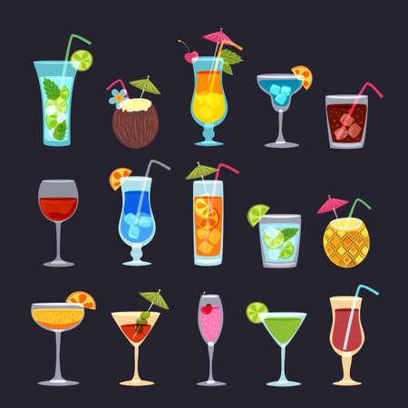 Tropical cocktails, juice, wine and champagne glass set on black background. Illustration
