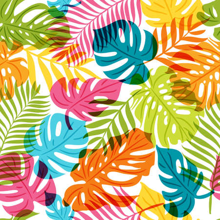 multiply: Vector seamless pattern with multicolor palm tree leaves. Summer tropical background. Trendy design for fabric and textile print. Illustration