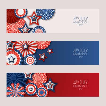 El 4 de julio, el día de la independencia de EE. UU. Banners con estrellas de papel en colores de la bandera de EE. UU. Fondos de vacaciones establecidos con lugar para el texto. Diseño de material para tarjetas de felicitación, diseño de banner, flyer, póster. Foto de archivo - 80336304