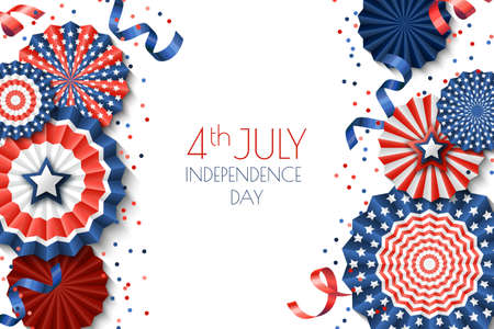 4th of July, USA Independence Day vector banner template.White background with paper stars in USA flag colors. Material design for greeting card, flyer layout, poster.