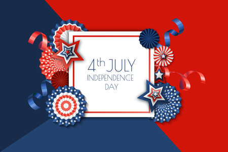4th of July, USA Independence Day vector banner template.. Color background with paper stars in USA flag colors. Material design for greeting card, flyer layout, poster.