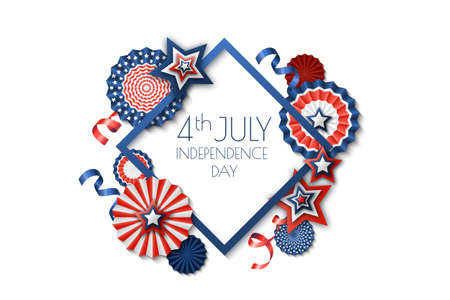 4th of July, USA Independence Day. Vector holiday frame isolated on white background. Paper stars in USA flag colors. Material design for greeting card, flyer, banner, poster. Illustration