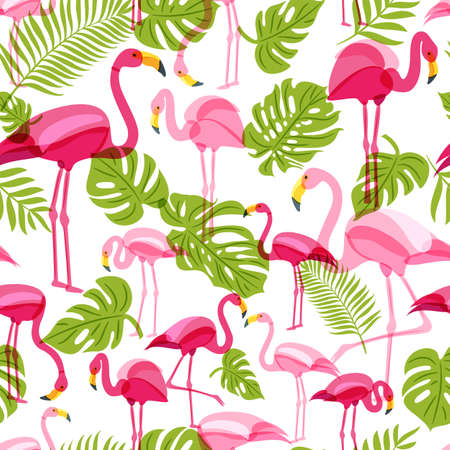 Vector seamless pattern with pink flamingo and green palm tree leaves. Summer tropical background. Trendy design for fabric and textile print.