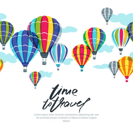 Vector horizontal seamless background with hot air balloons in the sky. Hand drawn doodle illustration. Design concept for summer travel, holidays and tourism banner, poster, backgrounds. Illustration