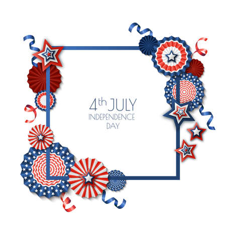 4th of July, USA Independence Day. Vector square frame isolated on white background. Paper stars in USA flag colors. Material design for greeting card, flyer, holiday banner or poster.
