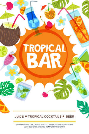 Beach bar vector menu or flyer layout. Sun, palm leaves and cocktails doodle illustration. Summer design for banner, flyer, invitation.