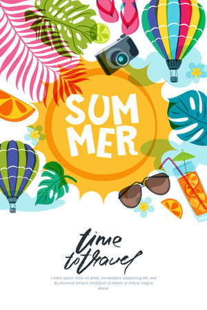 Vector banner, poster or flyer design template with sun, palm leaves and air balloons. Summer beach doodle illustration. Concept for summer holidays, travel and tourism background.
