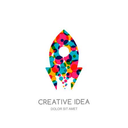 multiply: Vector rocket logo, sign, emblem design elements. Flying color rocket isolated symbol. Concept for start up, business solutions, high technology, development and innovation, creativity.