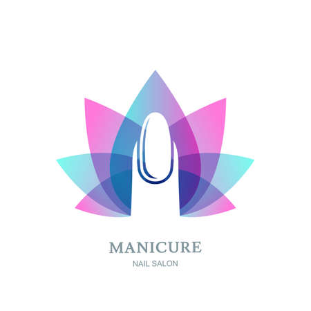 Female nail on purple lotus flower leaves background. Vector logo, label, emblem design element. Concept for beauty salon, manicure, cosmetic and hand care. Vettoriali