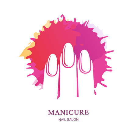 Female hand in pink nail polish splash, isolated on white background. Vector logo, label, emblem design elements. Concept for beauty salon, manicure, cosmetic and hand care. Ilustração