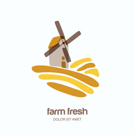Vector logo, label, emblem with windmill in wheat field. Farm landscape isolated illustration. Concept for agriculture, organic cereal products, bread and bakery.