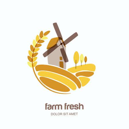 ベクトルのロゴ、ラベル、ライ麦や大麦、小麦の耳と欄風車エンブレム。ファーム分離の風景イラストです。農業、有機穀物製品、パン、パン屋さ