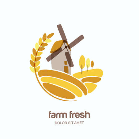 Vector logo, label, emblem with wheat, barley, or rye ears and windmill in field. Farm landscape isolated illustration. Concept for agriculture, organic cereal products, bread and bakery.