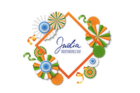 15th of August, India Independence Day. Vector paper stars in Indian flag colors, ashoka wheel, hand drawn calligraphy. Holiday frame for greeting card, banner layout, flyer, poster.