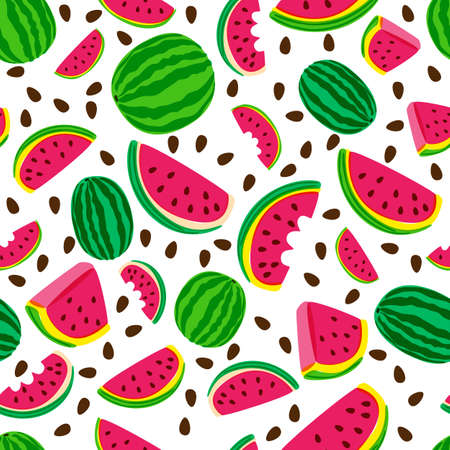 Vector seamless pattern with fresh watermelon isolated on white background. Hand drawn doodle illustration. Trendy design for summer fashion textile prints and backgrounds. Vettoriali