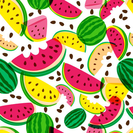 Vector seamless pattern with fresh red and yellow watermelon isolated on white background. Hand drawn doodle illustration. Trendy design for summer fashion textile prints and backgrounds. Illustration
