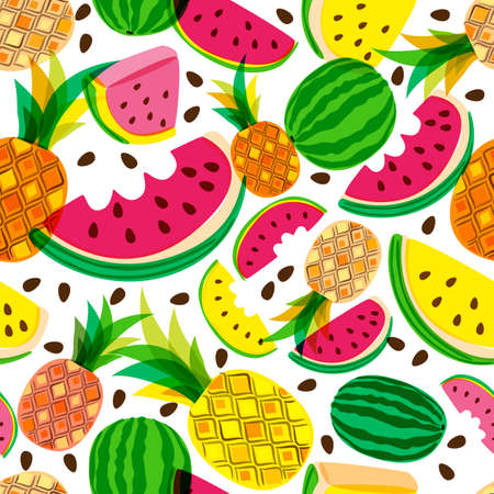 multiplicar: Vector seamless pattern with fresh red and yellow watermelon and pineapples isolated on white background. Hand drawn doodle illustration. Trendy design for summer fashion textile prints and backgrounds.