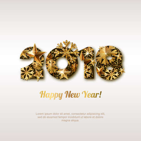foil: Happy New Year 2018 greeting card with golden numbers.