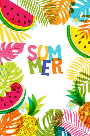 Vector banner, poster, frame with pineapple, watermelon and multicolor palm leaves. Hand drawn doodle illustration. Summer tropical background. Иллюстрация