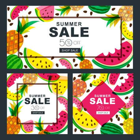 multiply: Summer sale vector banners set with fresh red and yellow watermelon and pineapples. Tropical background. Layout for discount labels, flyers and shopping.