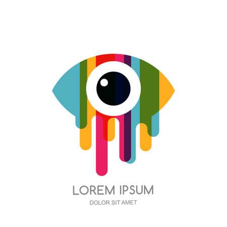 Vector colorful abstract eye logo, sign, emblem design element. Design concept for optical, glasses shop, makeup, oculist, ophthalmology, CCTV