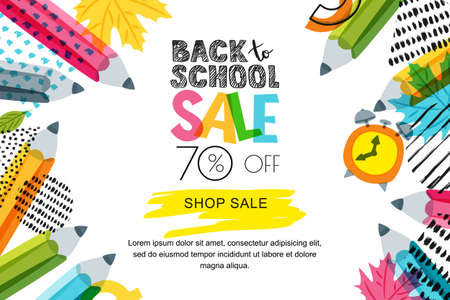 Vector horizontal back to school sale banner, poster background. Hand drawn sketch letters and doodle multicolor pencils on textured background. Layout for discount labels, flyers and shopping. 免版税图像 - 83247211