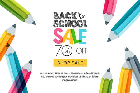 Vector horizontal back to school sale banner, poster background. Hand drawn sketch letters and doodle multicolor pencils isolated on white. Layout for discount labels, flyers and shopping.