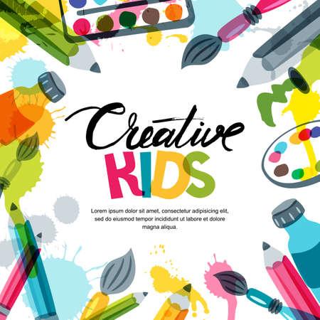 Kids art, éducation, concept de classe de créativité. Fond de bannière, affiche ou cadre de vecteur avec lettrage de calligraphie dessinés à la main, crayon, pinceau, peinture et splash aquarelle. Illustration de Doodle