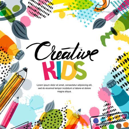 Kinderkunst, Bildung, Kreativitätsklassenkonzept. Vector Fahnen-, Plakat- oder Rahmenhintergrund mit Hand gezeichneter Kalligraphiebeschriftung, Bleistift, Bürste, Farben und Aquarellspritzen. Gekritzel-Illustration.