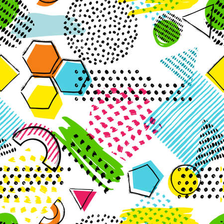 multiply: Vector seamless pattern with hand drawn geometric shapes on white background. Abstract doodle texture. Trendy design for fashion textile prints, fabric, and backgrounds.