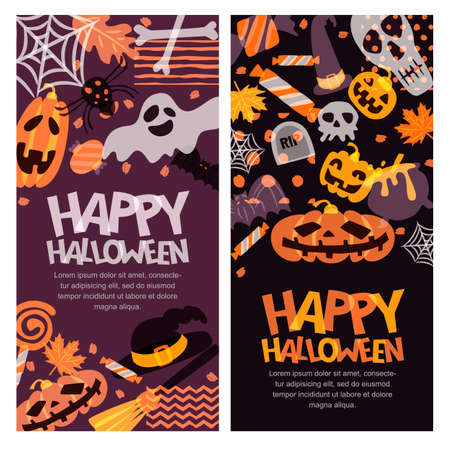 halloween background: Happy Halloween vector banner set. Hand drawn doodle pumpkin, skull, witch hat, bones, candies, ghost, broom, cauldron and letters. Holiday design elements for greeting card, poster Illustration