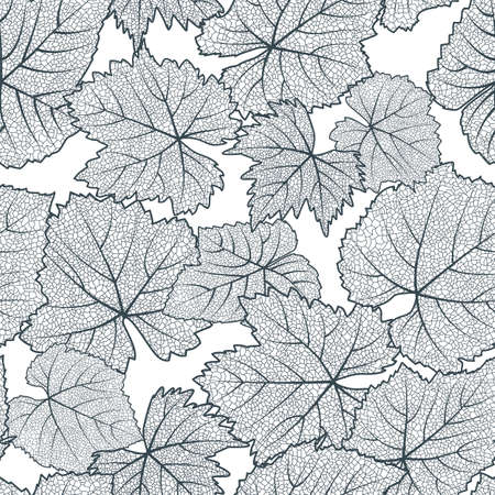 Vector seamless pattern with hand drawn grape textured leaves. Black and white autumn nature background. Design for wine list, winery, label, package, wrapping paper or textile print. Ilustração