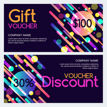 multiply: A Vector gift and discount voucher template with abstract dynamic geometric shapes. Multicolorblack holiday cards. Design concept for gift coupon, invitation, certificate, flyer, banner, ticket. Illustration