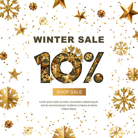 Winter sale 10 percent off, vector banner with 3d gold stars and snowflakes. Paper cut style 10% discount, golden white background. Layout for holiday poster, labels, flyers and shopping.