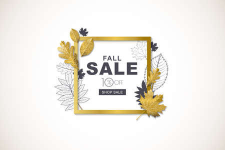 Autumn sale horizontal banner with isolated golden square frame and 3d style gold and outline autumn leaves. Vector fall poster background. Layout for discount labels, flyers and shopping. Illustration