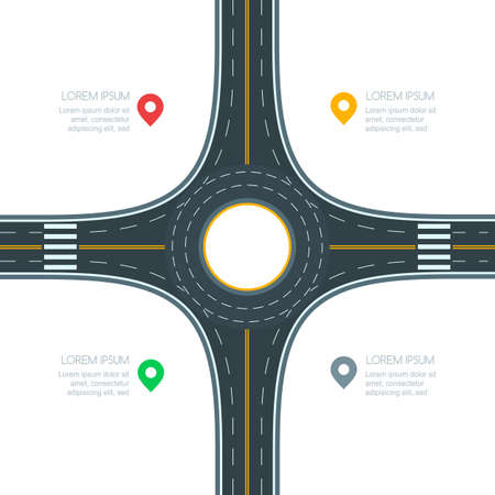 Kreisverkehr Straßenkreuzung, isoliert auf weißem Hintergrund, Vektor-Illustration. Infografik-Vorlage mit Kopie Raum. Leere Asphaltkreuzung mit Markierung. Straßenverkehr und Transport-Design-Vorlage. Vektorgrafik