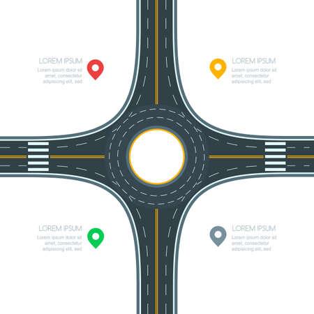 Rotonde wegverbinding, op witte achtergrond, vectorillustratie wordt geïsoleerd die. Infographics sjabloon met kopie ruimte. Leeg asfaltkruispunt met het merken. Ontwerpsjabloon voor straatverkeer en vervoer. Vector Illustratie