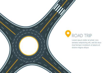 Giunzione stradale rotonda, isolato su sfondo bianco. Vettoriali