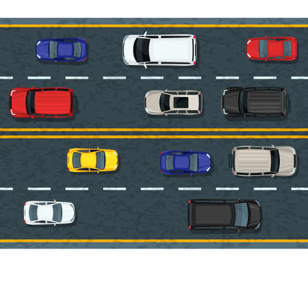 Vector flat illustration of city transport and traffic jam. Highway road with moving cars. Automobiles top view. Street traffic and transport design elements.